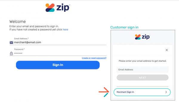 zip merchant portal refund sign in