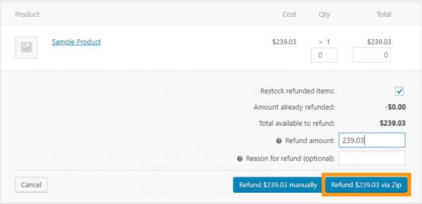 woocommerce refund item